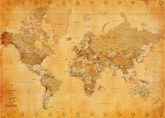 World map antique marks place big and walls vintage world map print at allposters get 75 off posters gumiabroncs Images