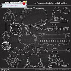 Halloween Chalkboard Doodles Digital Clipart  by JWIllustrations