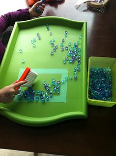 Tray Work for preschoolers.  Love these fun, practical ideas for fine motor skills and hand-eye co-ordination!