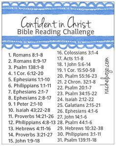 Confident in Christ bible reading challenge