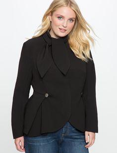 Tie Neck Peplum Blazer | Women's Plus Size Jackets + Coats | ELOQUII