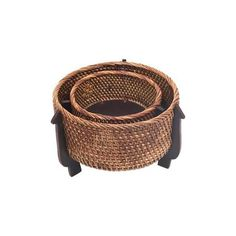 NOVICA Hand Woven Natural Fiber Circular Baskets (Pair) (100 SAR) ❤ liked on Polyvore featuring home, home decor, small item storage, brown, catchalls and trays, decor accessories, round basket, inspirational home decor, weave basket and round woven basket