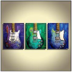 Guitar Art Music canvas Les Paul Blue Green Purple guitar painting on canvas- triptych