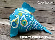 Gourd Art- Penelope the Paisley Puffer Fish Decorative Gourds, Painted Gourds, Gourd Art, Halloween Pumpkins, Craft Gifts, Paisley, Dinosaur Stuffed Animal, My Etsy Shop, Fish