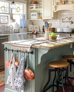 "Farmhouse Is My Style on Instagram: ""Quaint and welcoming farmhouse kitchen. There is a lot to look at and enjoy without it feeling too cluttered. Reminds me of an old…"""