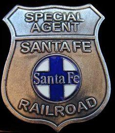santa fe railway badge   Santa Fe Railroad Bat Masterson Replica Badge