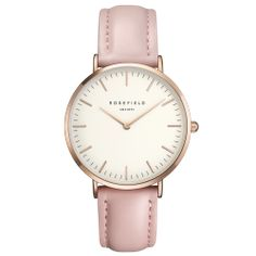 White Bowery women's watch - pink leather band | ROSEFIELD Watches