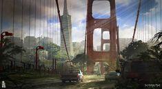 The Last of Us - Bridge Concept Design, Scribble Pad Studios on ArtStation at https://www.artstation.com/artwork/the-last-of-us-bridge-concept-design