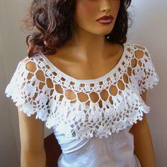 Blanco Shrug del Bolero Crochet novia blanco abrigo Bolero