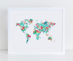 Large Floral World Map Poster Art Print Instant by DecorartDesign