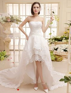 Sweetheart Neck Lace Trim High-Low Design Criss-Cross Bridal Wedding Dress with Applique - Milanoo.com