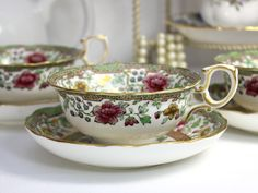 Antique Ovington High Handled Bone China Teacup, Wide Mouthed Tea Cup and Saucer 12407