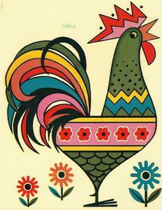 rooster print for play kitchen Chicken Crafts, Chicken Art, Arte Tribal, Tribal Art, Chicken Painting, Rooster Art, Arte Country, Madhubani Painting, Chickens And Roosters