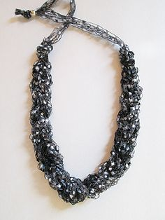 Ladder Yarn Necklace  Shimmering Black Gray and by CoastalKat, $11.00