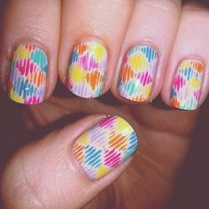 This abstract by Rebecca Fleming perfectly captures the colors of the rainbow. Dream Nails, Love Nails, Pretty Nails, Color For Nails, Nail Colors, Nail Patterns, Pattern Nails, Art Deco Nails, Nail Art Stripes