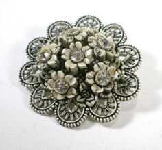 Carved Celluloid Brooch Black White Floral Rhinestone by paleorama, $18.00