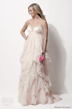 modern trousseau spring 2014 bridal norah strapless empire blush wedding dress embellished neckline