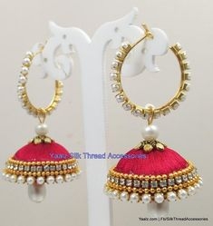 Yaalz Elegant Pearl Bali Jhumka in Red Color