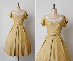 vintage 1950s dress / 50s yellow dress / 50s beaded by cutxpaste