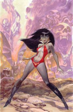 Bruce Timm Alternate Cover, in Pete Thrash's Vampirella Comic Art Gallery Room Bruce Timm, Cartoon Kunst, Comic Kunst, Cartoon Art, Arte Horror, Horror Art, Red Sonja, Comic Character, Character Design