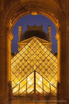 Glass pyramid at Musee du Louvre, Paris France. © Brian Jannsen Photography
