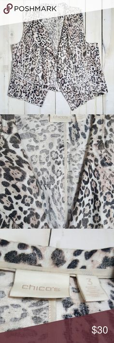 Chico's Size 3 Linen Rayon Animal Print Vest Condition: In excellent, hardly worn condition. Like new! Nice material and print.  Size: 3  Linen/Rayon Chico's Jackets & Coats Vests