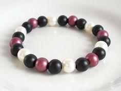Black, Red & White Acrylic Pearl Elasticated Bracelet by Purple Wyvern Jewels