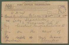 Telegram from Queen Alexandra to Emily Shackleton, July 1914. Found on SPRI