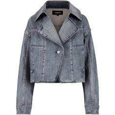 Stonewashed Denim Moto Jacket ❤ liked on Polyvore featuring outerwear, jackets, motorcycle jacket, cropped denim jacket, rider jacket, blue jackets and moto jacket