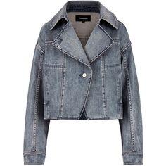 Stonewashed Denim Moto Jacket ❤ liked on Polyvore featuring outerwear, jackets, biker jacket, cropped jacket, blue moto jacket, moto jacket and motorcycle jacket