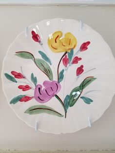 Blue Ridge Pottery plate in the Berea Blossom pattern.