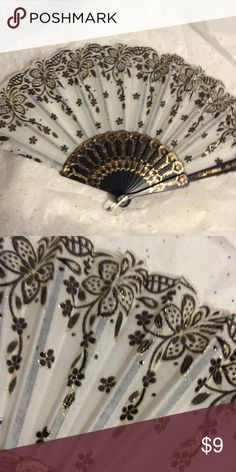 Oriental Fan This oriental fan comes in the color of cream, black with gold sequins. Great for hot flashes, or just plain fun. Pick up yours today! I have many fans I will be selling in my closet so keep checking. Thanks for stopping by! Other