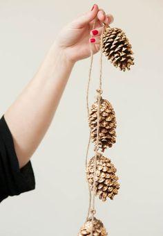 Gilded pine cone garland!