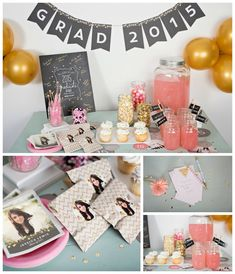 These gold sequin-look graduation party ideas will help inspire your party with announcements, graduation photo display ideas and more. Click to read more and see how you can replicate these ideas! #graduationpartyideas