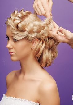 fancy braided side hairstyle for prom