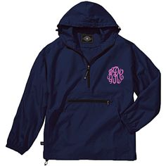 These are perfect jackets for men or women on the go! The Pack-n-Go pullover rain coats are unisex, lightweight unlined and store in the front pocket of the jacket itself for easy storage. Designed for convenience you can keep one of these pullovers anywhere for when you need it. #raincoat #windbreaker #monogrammedwindbreaker #rainjacket #packngo #halfzip #personalizedjacket #monogrammedrainjacket #personalizedraincoat #lilajanes #navywindbreaker