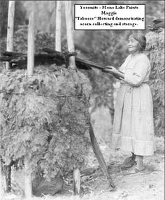 Yosemite Native people history - Paiute Maggie by the acorn caches by Yosemite Native American, via Flickr