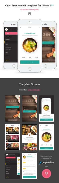 One is a collection of 5 premium mobile UI Templates made specially for iPhone 6 plus. The 5 templates are made in different styles. The screens are complete retina ready optimised for iPhone 6 plus (iOS 9). They include 40 complete screens in 5 different styles to be used in your next iOS / Mobile project. All the mobile screens were made in a clean and elegant style, based on the newest trends in mobile design.