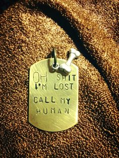 """stamped pet tags  """"oh shit i'm lost call my human"""""""