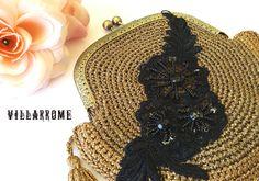 Bolso dorado romántico, boda, fiesta, bolso bohemio, bolso otoño, boquilla latón, ganchillo, rosa negra, encaje negro, hecho a mano, borlas