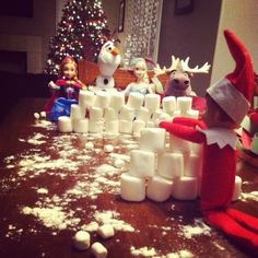 Elf on the Shelf snowball fight with his Disney Frozen friends! My girls loved this one!