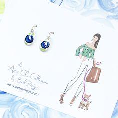 Hand Painted Earrings - Artist Chic Earrings  - Fashionista - Preppy Earrings - Preppy Gift - Jewelry - Earrings - Fashion Gift - Handmade by bbriggsillustration on Etsy
