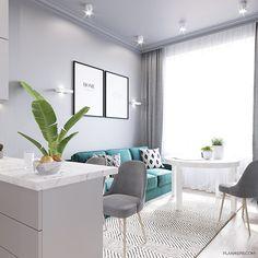 ULTRA_CITY on Behance Ceiling Design Living Room, Kitchen Room Design, Living Room Designs, Small Condo Living, Home Living Room, Living Room Decor, Home Design Decor, Home Interior Design, Small Apartment Interior