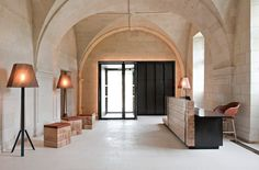 Design duo Patrick Jouin and Sanjit Manky undertook the transformation of an old Saint-Lazare priory into a hotel and restaurant. The Abbaye de Fontevraud, located in Fontevraud-l'abbaye, France.