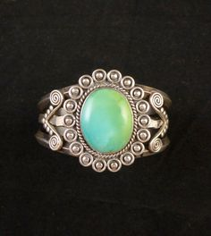 51g Vintage Navajo Sterling Silver Cuff Bracelet w LUMINOUS Blue Gem Turquoise! Just Plain AWESOME!