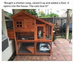 Bought a chicken coop, raised it up and added a floor. It opens int… Good idea! Bought a chicken coop, raised it up and added a floor. It opens into the house. The cats love it! Niche Chat, Cat Fence, Outdoor Cat Enclosure, Reptile Enclosure, Cat Run, Building A Chicken Coop, Cat Condo, Outdoor Cats, Outdoor Cat Houses