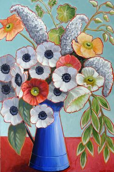 Large Original Flower Painting 24x36 acrylic by AndeHallFineArt