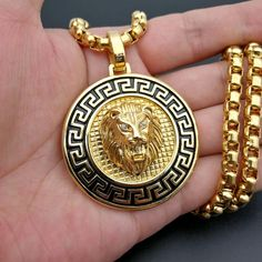Hip Hop Lion Head Jewelry Necklace For Men. Stainless Steel Made, Gold Plating. Mens Gold Bracelets, Mens Gold Jewelry, Mens Jewellery, Mens Chain Necklace, Gold Chains For Men, Stainless Steel Necklace, Bracelet Designs, Jewelry Design, Young Children