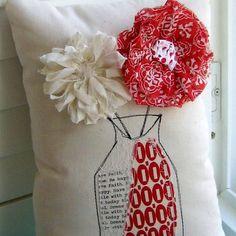 Fabric Flower Pillow Fabric Flowers Flower от tracyBdesigns