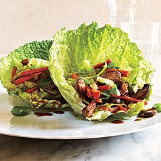 Mu Shu Pork Wraps   If your butcher is unable to cut an 8-ounce piece of pork loin, buy 1 pound and freeze the remainder for another use. Save your mushroom stems for stocks or broths.